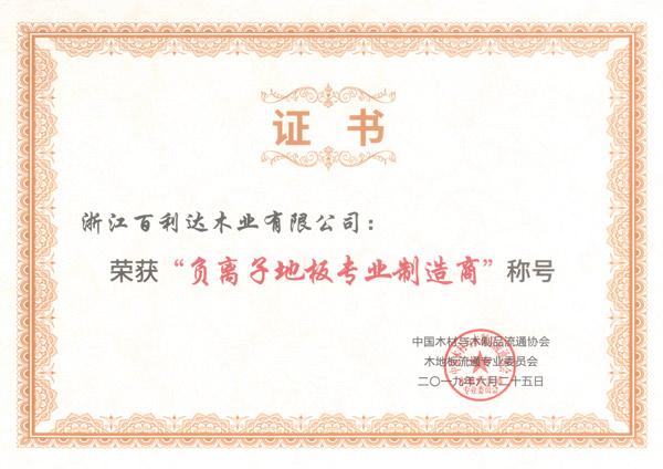负离子制造商证书